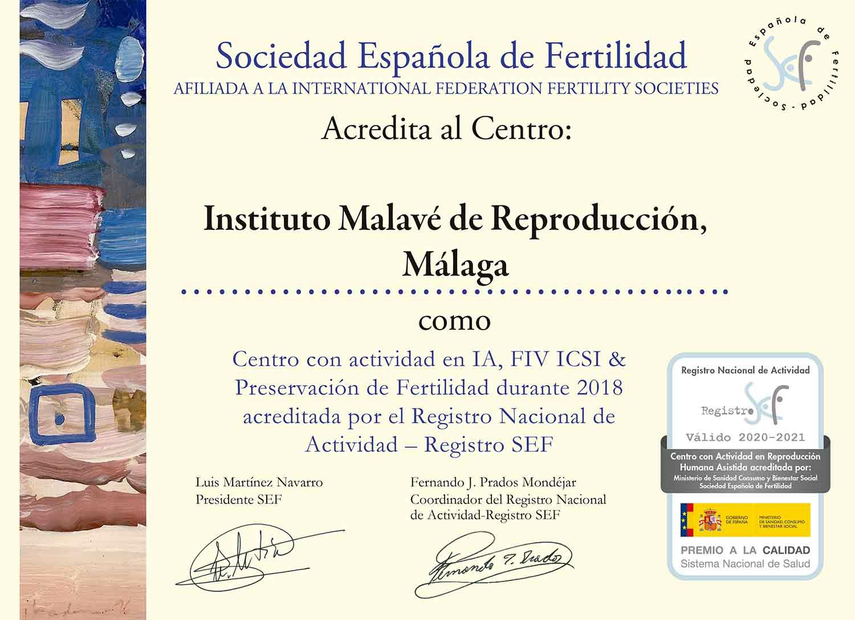 Acreditación Sociedad Española de Fertilidad IMARA Málaga